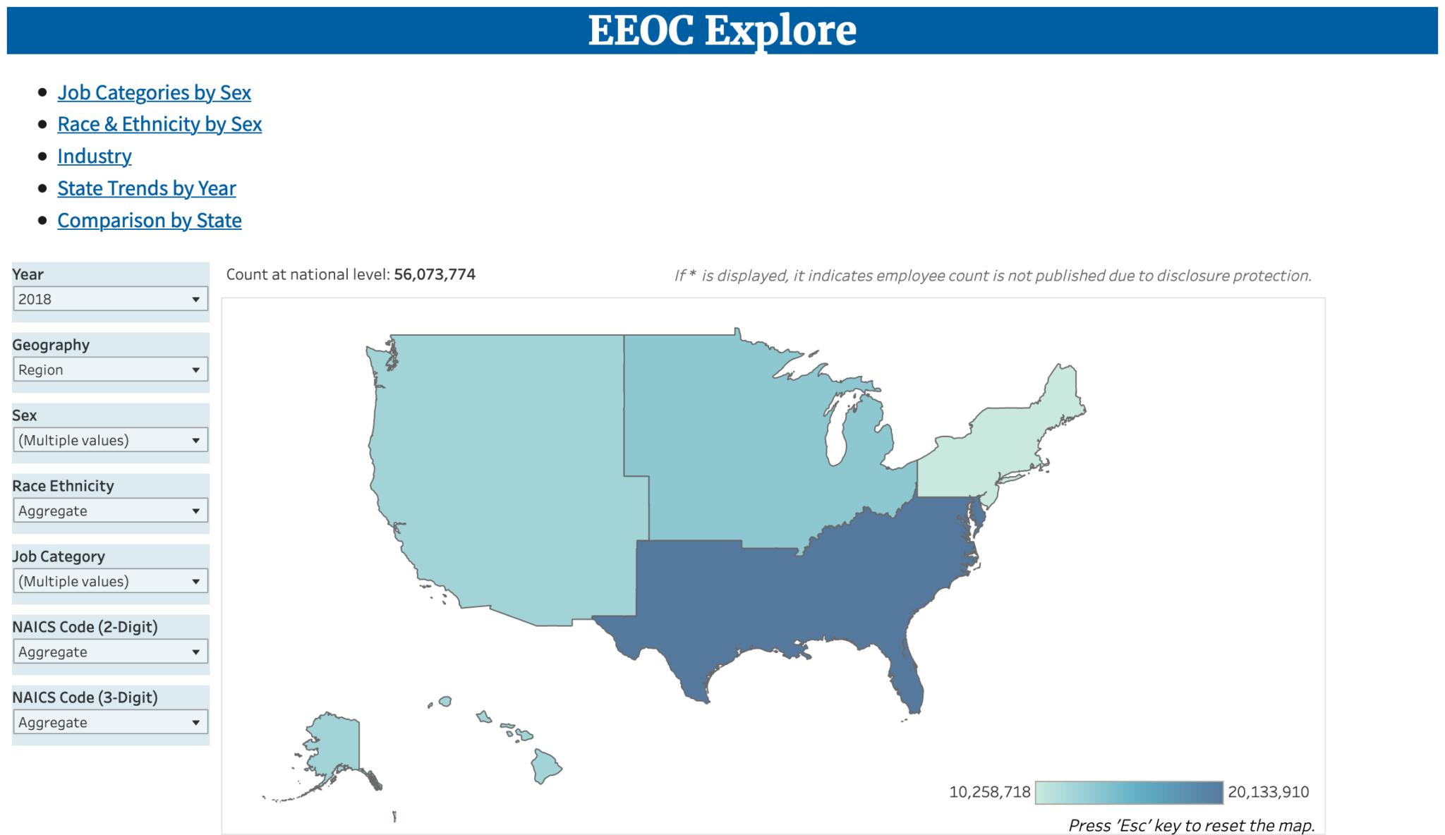 Screenshot of the new EEOC Explore employment data tool